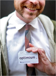 "Reed Seifer, the graphic artist who devised the ""optimism"" project in art school, with a new-look MetroCard. (via NYT)"
